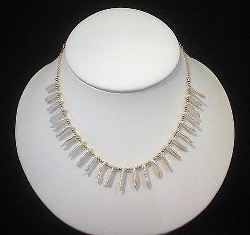 Biwa Cultured FW Pearl and 14kt GF Necklace Set