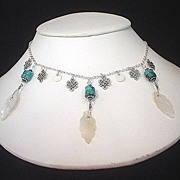 Mother of Pearl Feather Turquoise Sterling Necklace