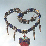 Tibetan Inlaid Lapis Lazulli, Coral and Turquoise Horn Necklace