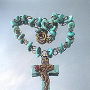 Tibetan Turquoise Coral Repousse Cross Necklace