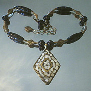 Mosaic Bone and Carved Black Onyx Necklace
