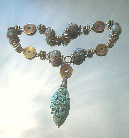 Asian Carved Turquoise Stardust Tibetan Necklace