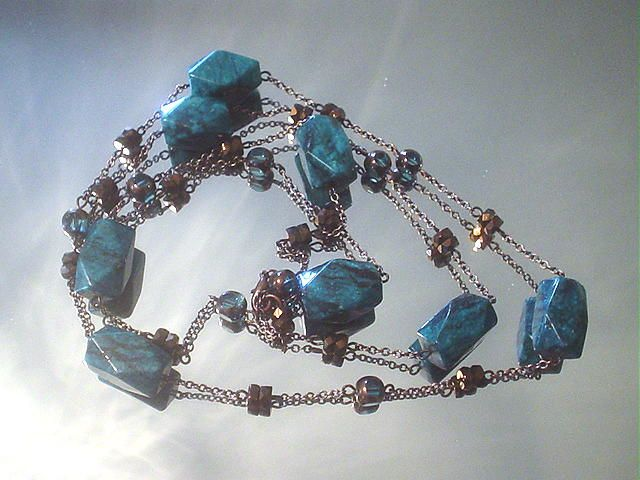 Blue Jasper and Art Glass Capri Bronze Eternity Necklace