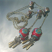 Tibetan Wisdom Eyes Inlaid Turquoise and Coral Lariat Necklace