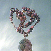 Jade Dragon and Golden Rhodonite Copper Necklace
