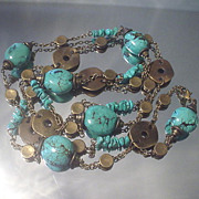 Turquoise Nugget Coin Eternity Necklace
