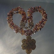 SOLD Jade Eternity Love Knot and Red Rutilated Quartz Necklace
