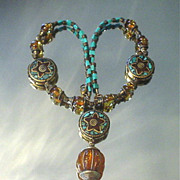 Tibetan Resin and inlaid Coral Turquoise Necklace