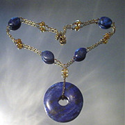 Lapis Lazulli and Resin Amber Necklace
