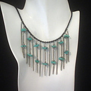 Turquoise and Silver Cascading Waterfall Cord Necklace