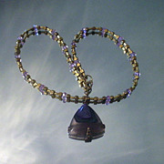 Agate and Amethyst Brass Necklace