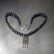 Marcasite and Black Onyx Sterling Silver Necklace