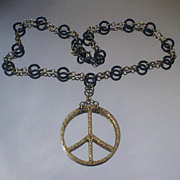 Brass Peace Sign Ring Necklace