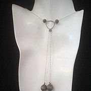 Marcasite and Sterling Silver Lariat Style Necklace