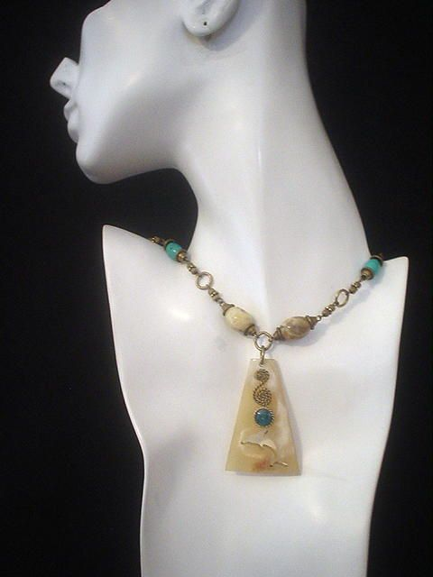 Mother of Pearl, Turquoise & Feldspar Dolphin Necklace