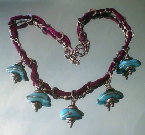 Blue Porcelain Fairy Ribbon Copper Necklace