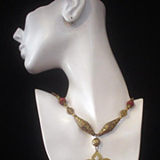 Turkoman Carnelian Goldwash and Goldstone Necklace