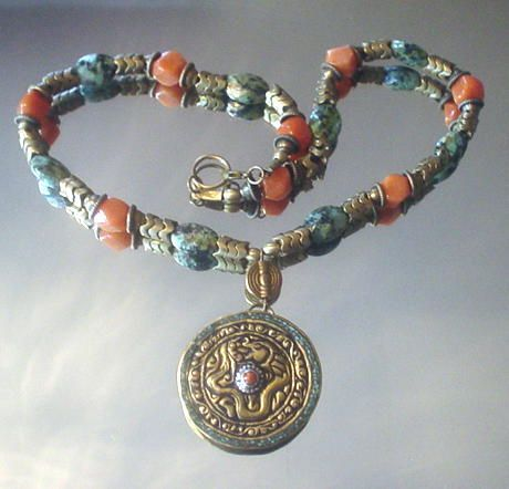 Tibetan Dragon Turquoise and Peach Aventurine Necklace