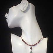 Egyptian Pharaoh and Garnet Copper Necklace