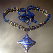 Blue Enamel Asian Fairy Ribbon Necklace