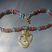 Tibetan OM and African Trade Bead Turquoise Necklace