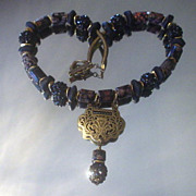 Tibetan Lock and Red Obsidian Beach Glass Necklace