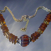 Tibetan Amber and Recycled Beach Glass Necklace