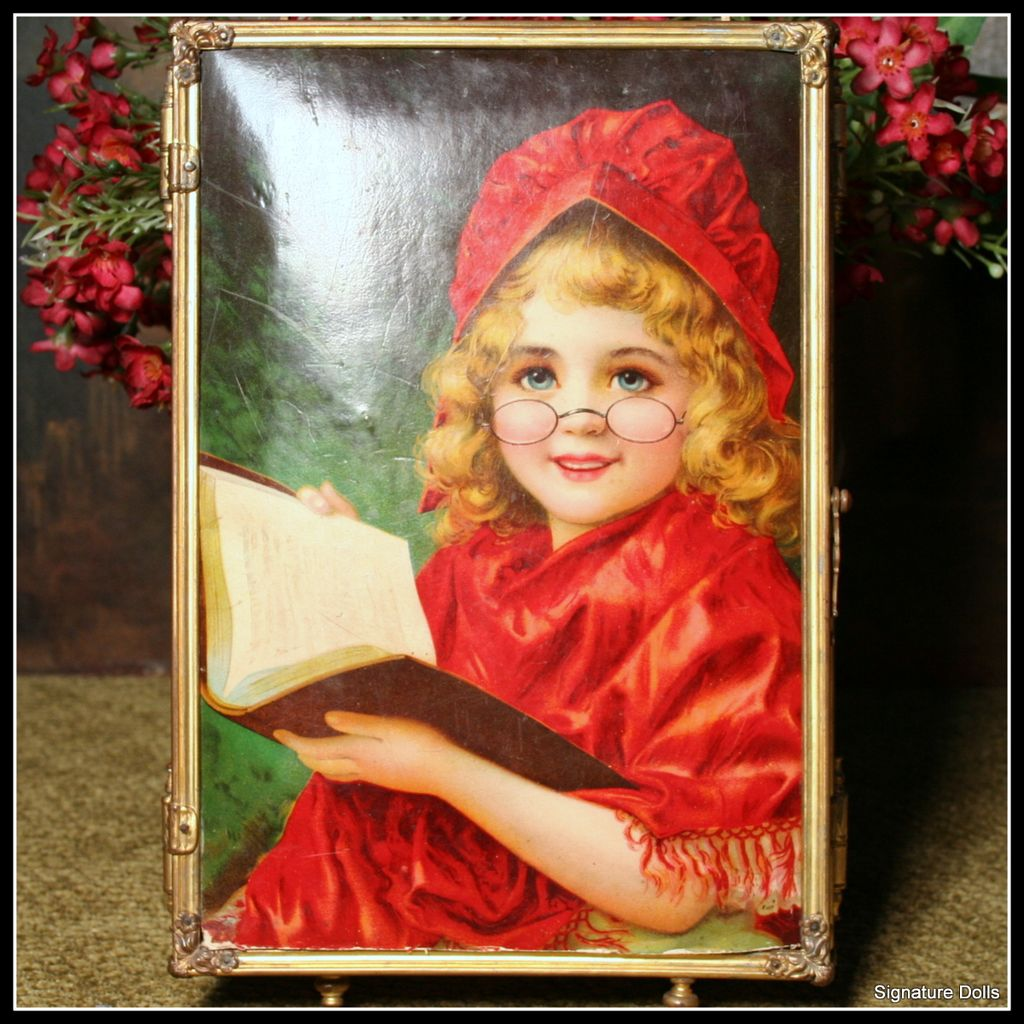 Victorian Travel Tri-Fold Mirror with Rare Little Red Riding Hood Litho