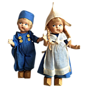 "Vogue Toddles Dutch Couple 7 1/2""  circa 1947 Original"