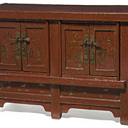19th Century Red Lacquer Tibetan Cabinet