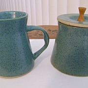 Bennington Cooperative Design Vermont Green Creamer Sugar - 1950's