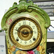 "Ansonia Clock Co. ""La Cruz"" Royal Bonn Porcelain Mantel Clock"