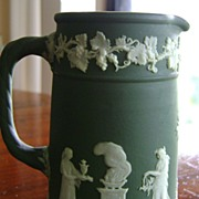 Wedgwood Olive Dip Jasperware Upright Mini Pitcher / Jug