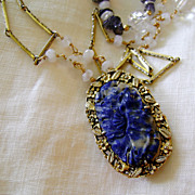 Artisan Necklace w Chinese Silver Carved Lapis Clip Vintage Beads & Watch Chain