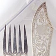 Best Sheffield Sterling Silver and Carved Ivory Fish Serving Set