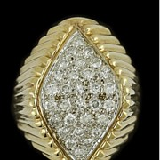 Striking 14K Pav� Diamond, Diamond Shape Ring