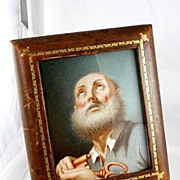 SOLD Gorgeous Old Master Portrait with Leather Frame