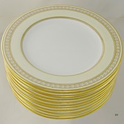 11 Beautiful Yellow & Gilded Spode Luncheon Plates
