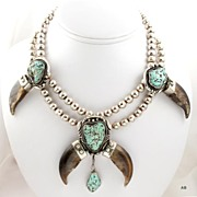 SOLD Native American Genuine Bear Claw & Turquoise Necklace