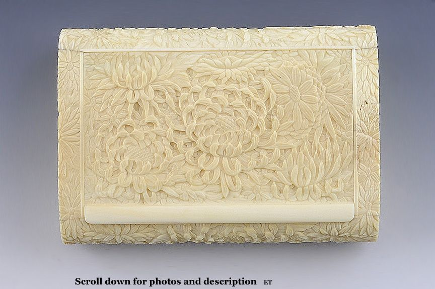 Amazing Meiji Period Carved Ivory Box with Chrysanthemums
