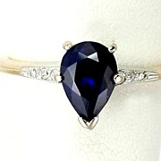 SOLD Lovely 14 Karat Gold Pear Cut Sapphire & Diamond Ring