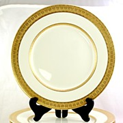 SOLD Mint 12 Royal Doulton Gold China Dinner Plates