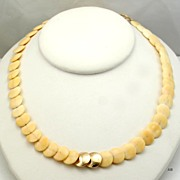 Quality 14 Karat Gold & Carved Ivory Bead Necklace Excellent Crosshatching