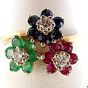 SOLD Pretty Colorful 14 Karat Gold 3 Gemstone Flower Ring