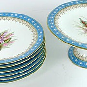 SOLD Old Royal Worcester Hand Painted Floral Plates Compote