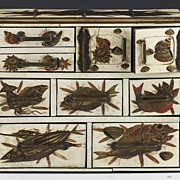 Japanese Meiji Period Carved Ivory Hand Painted Fish Chest of Drawers Box
