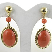 SOLD Elegant 1950s Deep Red Coral 14 Karat Gold Earrings