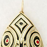 Stunning 18 Karat Gold Enameled Tribal Mask Pin or Pendant