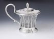 Old Antique 1820s French Sterling Silver & Glass Mustard Pot