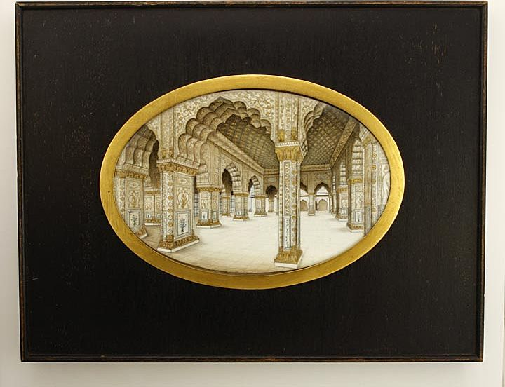 Amazing Indo-Persian Moorish Taj Mahal Indoor Painting